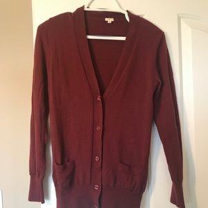 100% Merino Wool Crimson Garnet J. Crew Cardigan